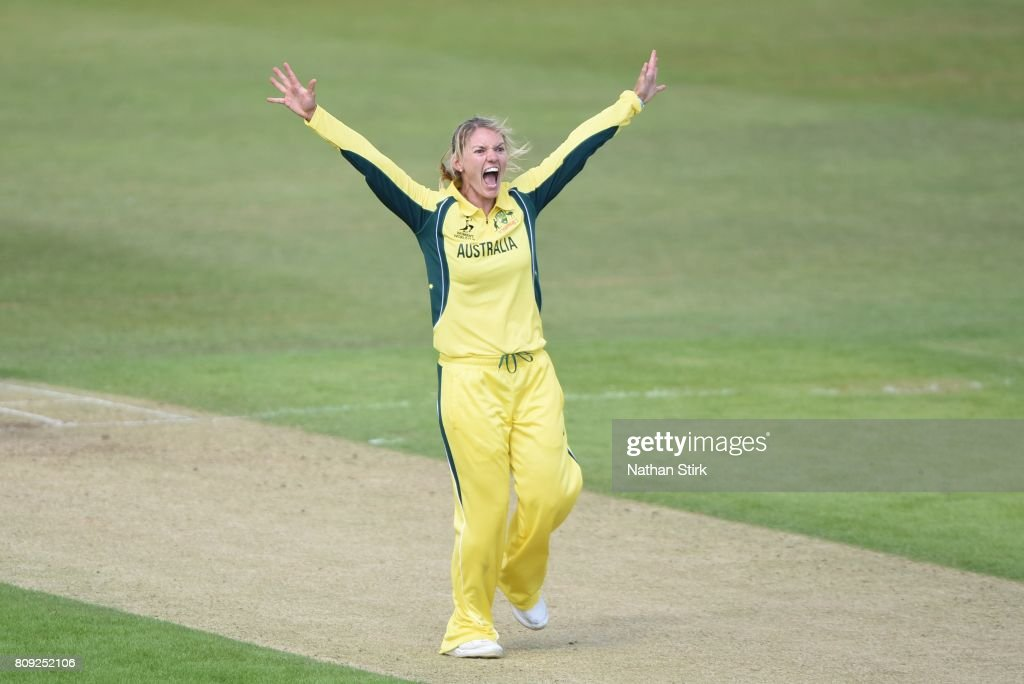 Kristen Beams of Australia appeals during the ICC Women's World Cup 2017 match between Pakistan and Australia at Grace Road on July 5, 2017 in Leicester, England.