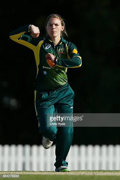 Kristen Beams of Australia bowls during the women's international series One Day match between the Australian Southern Stars and Pakistan at Redlands...