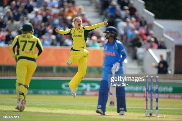 Kristen Beams of Australia celebrates getting Mithali Raj of India out during the SemiFinal ICC Women's World Cup 2017 match between Australia and...