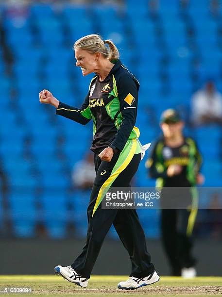 Kristen Beams of Australia celebrates taking the wicket of Rachel Priest of New Zealand during the Women's ICC World Twenty20 India 2016 Group A...