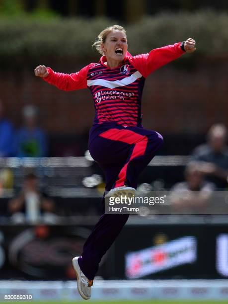 Kristen Beams of Loughborough Lightning celebrates after dismissing Rachel Priest of Western Storm during the Kia Super League 2017 match between...