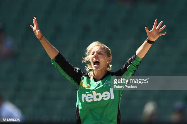Kristen Beams of the Stars celebrates the wicket of Tegan McPharlin of the Strikers during the Women's Big Bash League match between the Melbourne...