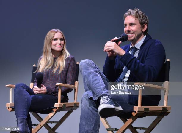 Kristen Bell and Dax Shepard attend Apple Store Soho Presents Meet The Actors Dax Shepard And Kristen Bell Hit And Runat Apple Store Soho on July 26...