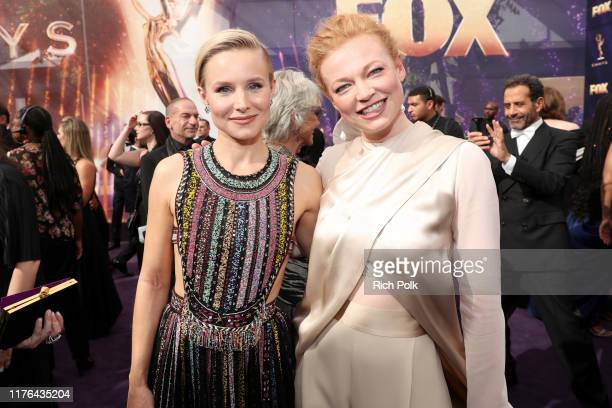 Kristen Bell and Sarah Snook walk the red carpet during the 71st Annual Primetime Emmy Awards on September 22 2019 in Los Angeles California