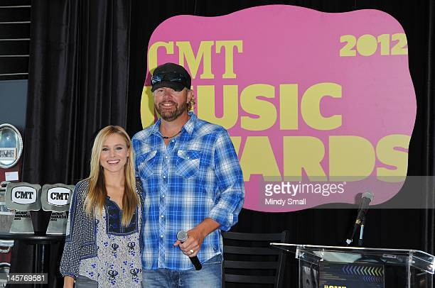 Kristen Bell and Toby Keith attend the 2012 CMT Music awards press conference at the Nashville Visitor Information Center on June 5 2012 in Nashville...
