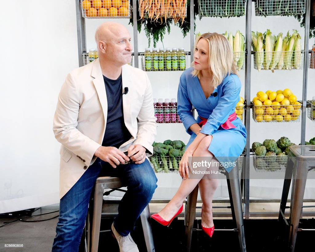 Kristen Bell and Tom Colicchio attends the 2017 #DrinkGoodDoGood Campaign Launch at Little River on August 9, 2017 in New York City.