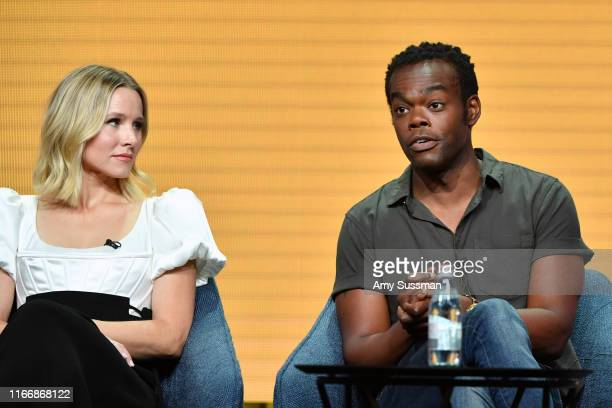 Kristen Bell and William Jackson Harper of 'The Good Place' speak during the NBC segment of the 2019 Summer TCA Press Tour at The Beverly Hilton...