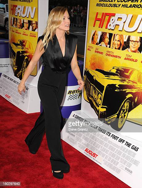 Kristen Bell arrives at the Hit Run Los Angeles Premiere on August 14 2012 in Los Angeles California