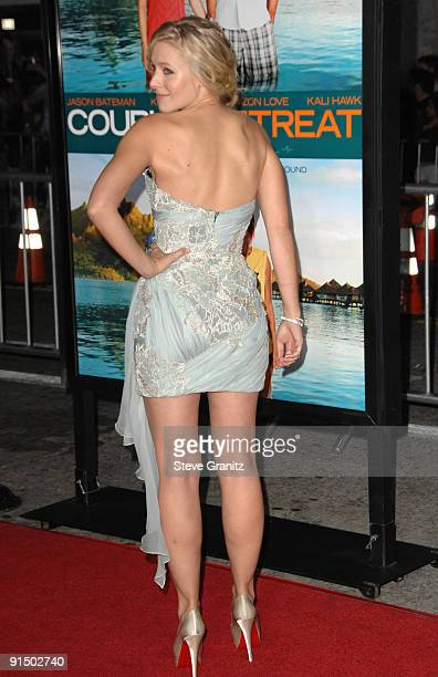 Kristen Bell arrives at the Los Angeles premiere of Couples Retreat at the Mann's Village Theatre on October 5 2009 in Westwood California