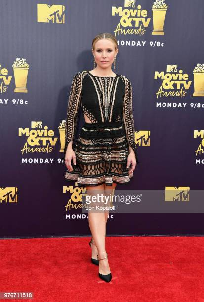 Kristen Bell attends the 2018 MTV Movie And TV Awards at Barker Hangar on June 16 2018 in Santa Monica California