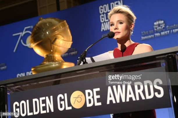 Kristen Bell attends the 75th Annual Golden Globe Nominations Announcement on December 11 2017 in Los Angeles California