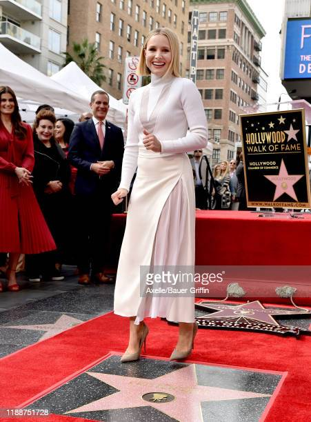 Kristen Bell attends the ceremony honoring her and Idina Menzel with Stars on the Hollywood Walk of Fame on November 19 2019 in Hollywood California