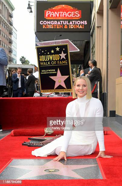 Kristen Bell attends the double Walk of Fame ceremony in Hollywood Calif where her and Idina Menzel from Disney's FROZEN 2 were each presented with a...