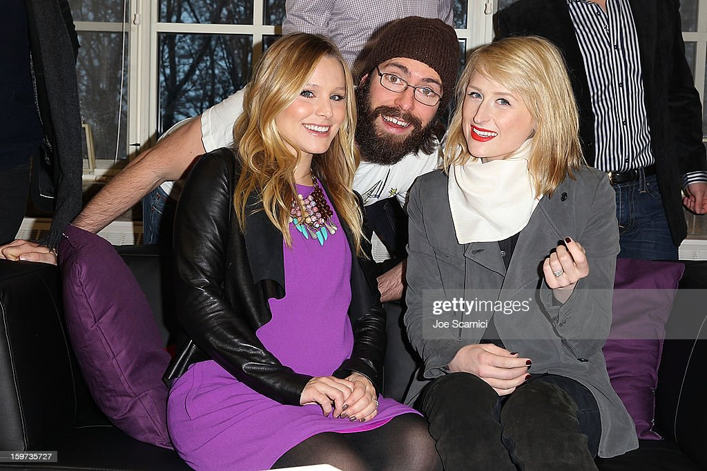 Kristen Bell, Martin Starr and Mamie Gummer pose for a photo in the green room at 'The Lifeguard' Premiere - 2013 Sundance Film Festival at Library Center Theater on January 19, 2013 in Park City, Utah.