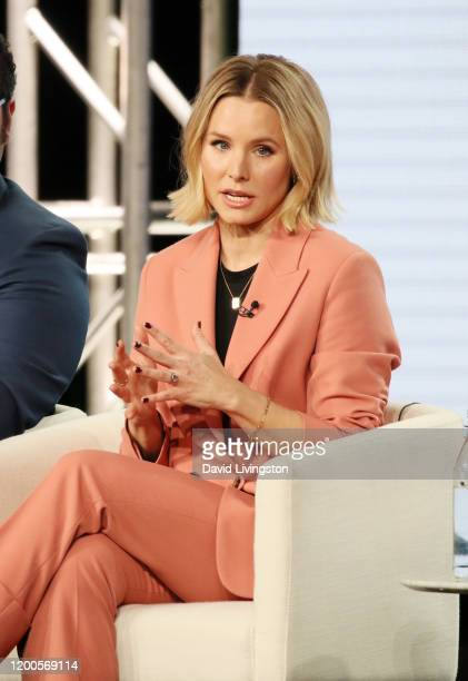 "Kristen Bell of ""Central Park"" speaks onstage during the Apple TV+ segment of the 2020 Winter TCA Tour at The Langham Huntington, Pasadena on January..."