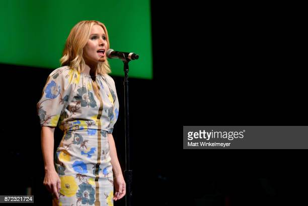 Kristen Bell performs onstage during the SAGAFTRA Foundation Patron of the Artists Awards 2017 at the Wallis Annenberg Center for the Performing Arts...