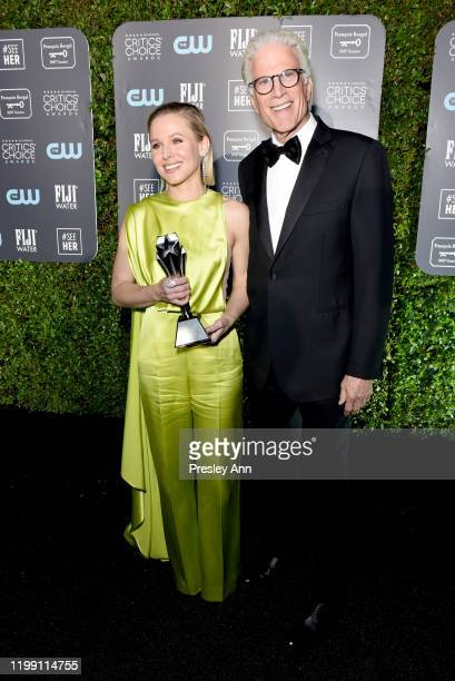 Kristen Bell, winner of the #SeeHer Award, and Ted Danson attend the 25th Annual Critics' Choice Awards at Barker Hangar on January 12, 2020 in Santa...