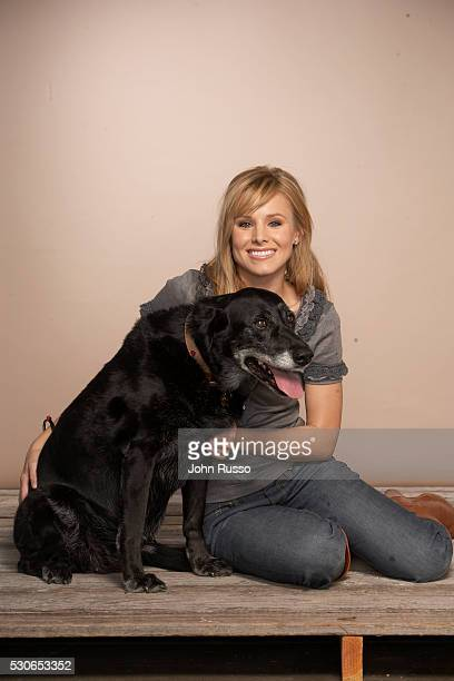 Kristen Bell with her dog Sadie.