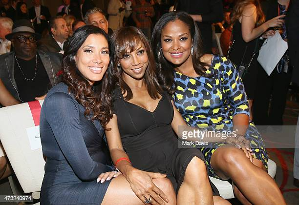 Kristen Bellamy actress Holly Robinson Peete and former Super Middleweight Champion Laila Ali attend B Riley Co And Sugar Ray Leonard Foundation's...