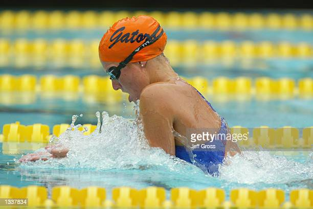 Kristen Caverly competes in the 200m breaststroke preliminary during the Janet Evans Invitational on July 20 2002 at the McDonald's Swim Stadium in...
