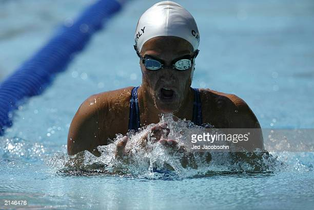 Kristen Caverly swims in a preliminary heat of the women's 200 meter IM butterfly during the 36th Santa Clara International Swim Meet at the George...