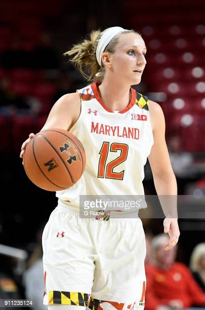 Kristen Confroy of the Maryland Terrapins handles the ball against the Iowa Hawkeyes at Xfinity Center on January 4 2018 in College Park Maryland