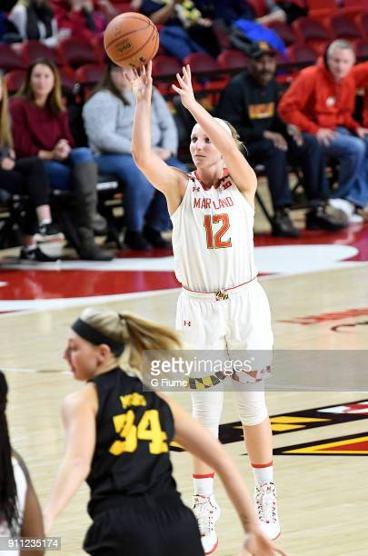 Kristen Confroy of the Maryland Terrapins shoots the ball against the Iowa Hawkeyes at Xfinity Center on January 4 2018 in College Park Maryland