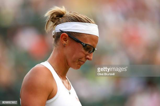 Kristen Flipkins of Belgium looks on during her Ladies Singles second round match against Angelique Kerber of Germany on day four of the Wimbledon...