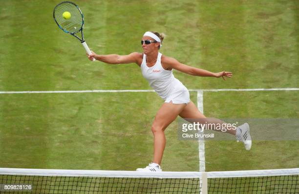 Kristen Flipkins of Belgium plays a forehand during the Ladies Singles second round match against Angelique Kerber of Germany on day four of the...
