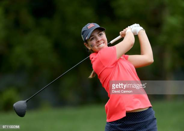 Kristen Gillman of the United States team plays her tee shot on the second hole in her match against Annabell Fuller of the Great Britain and Ireland...