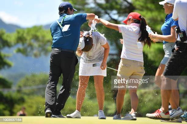 Kristen Gillman of the USA celebrates after winning the Century 21 Ladies Golf Tournament at the Seta Golf Course West Course on July 22 2018 in Otsu...