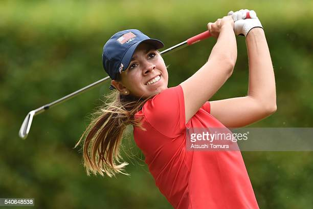 Kristen Gillman of the USA hits her tee shot on the 13th hole during the third round of 2016 TOYOTA Junior Golf World Cup at Ishino Course Chukyo...