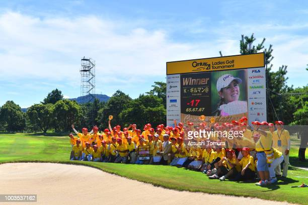 Kristen Gillman of the USA poses with event staffs after winning the Century 21 Ladies Golf Tournament at the Seta Golf Course West Course on July 22...
