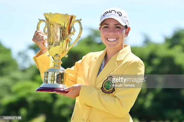 Kristen Gillman of the USA poses with the trophy after winning the Century 21 Ladies Golf Tournament at the Seta Golf Course West Course on July 22...