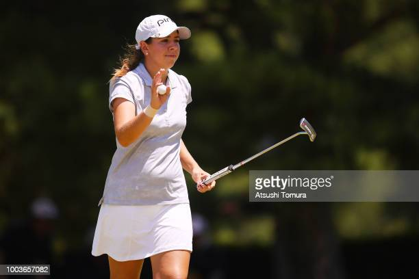 Kristen Gillman of the USA reacts during the final round of the Century 21 Ladies Golf Tournament at the Seta Golf Course West Course on July 22 2018...