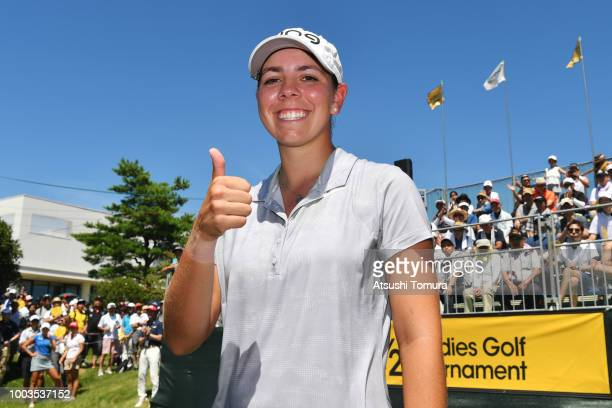 Kristen Gillman of the USA smiles after winning the Century 21 Ladies Golf Tournament at the Seta Golf Course West Course on July 22 2018 in Otsu...