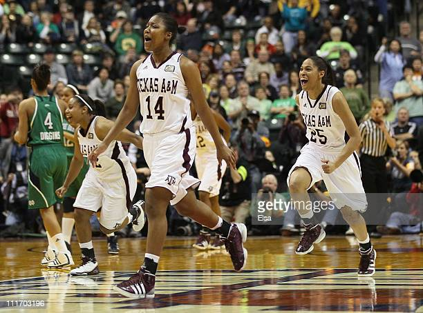 Kristen Grant and Skylar Collins of the Texas A&M Aggies celebrate the win of the championship game of the 2011 NCAA Women's Final Four on April 5,...