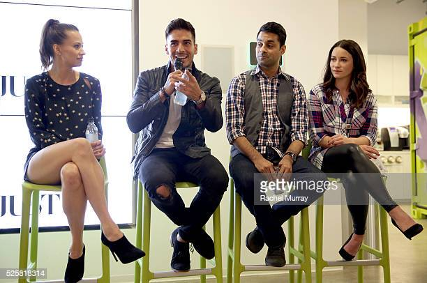 Kristen Gutoskie Michael Galante Andy Gala and Mekenna Melvin speak onstage during a QA panel after the JustFab StyleHaul Screening Relationship...