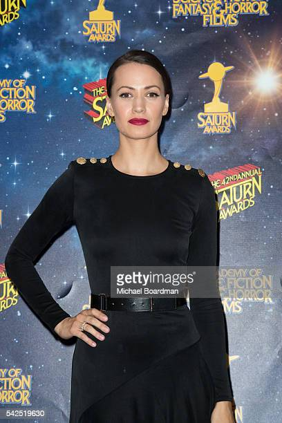 Kristen Gutoskie pose in the press room at the 42nd Annual Saturn Awards at The Castaway on June 22 2016 in Burbank California