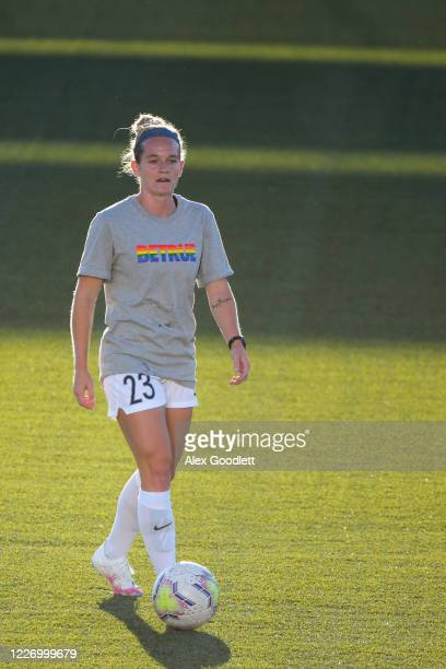Kristen Hamilton of North Carolina Courage warms up before a game against the Sky Blue FC on day 8 of the NWSL Challenge Cup at Zions Bank Stadium on...