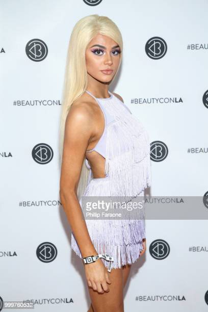 Kristen Hancher attends the Beautycon Festival LA 2018 at the Los Angeles Convention Center on July 15 2018 in Los Angeles California