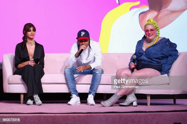 Kristen Hancher Young MA and Margie Plus speak on a panel during Beautycon Festival NYC 2018 Day 2 at Jacob Javits Center on April 22 2018 in New...