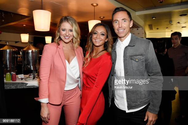 Kristen Ledlow Kate Abdo and Steve Nash attend the Turner Upfront 2018 green room at Nick and Stef's Steakhouse on May 16 2018 in New York City 376220