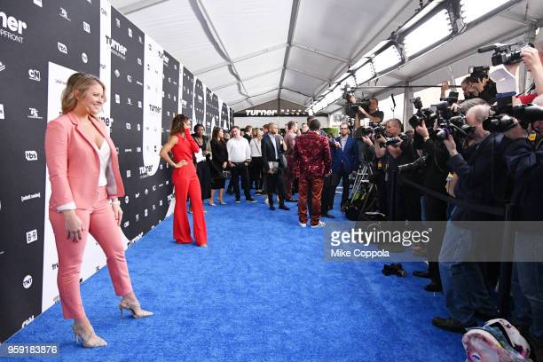 Kristen Ledlow Turner Sports NBA reporter and Kate Abdo Host of UEFA Champions League attend the Turner Upfront 2018 arrivals on the red carpet at...