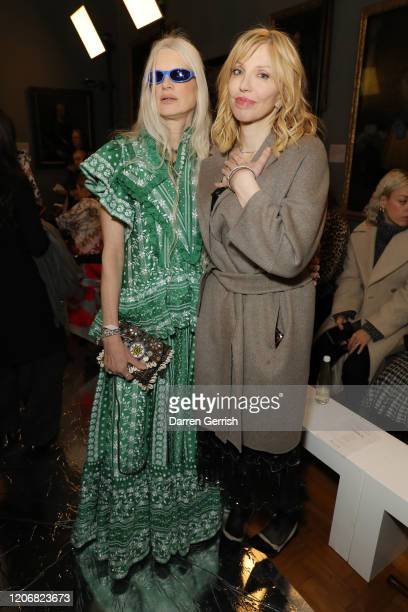 Kristen McMenamy and Courtney Love attend the Erdem show during London Fashion Week February 2020 on February 17 2020 in London England