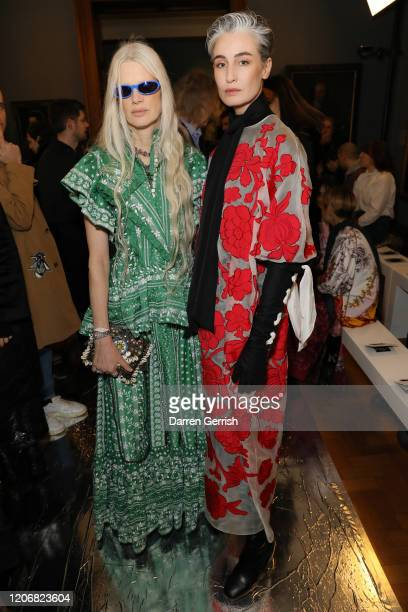 Kristen McMenamy and Erin O'Connor attend the Erdem show during London Fashion Week February 2020 on February 17 2020 in London England