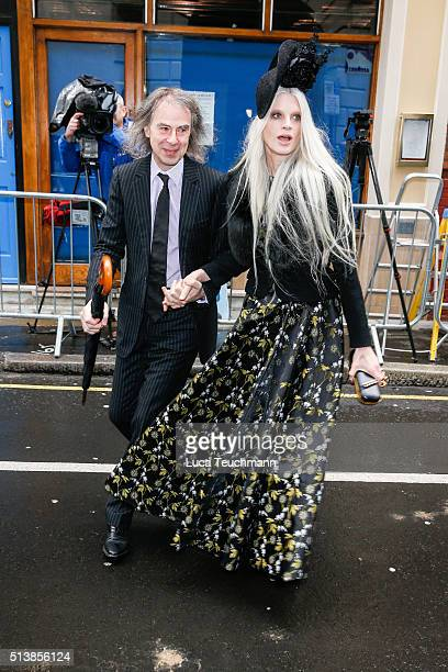 Kristen McMenamy and Ivor Braka attend the wedding of Jerry Hall and Rupert Murdoch at St Brides Church on March 5 2016 in London England