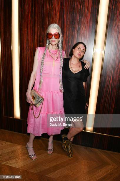 """Kristen McMenamy and Sadie Frost attend Fat Tony's autobiography """"I Don't Take Requests"""" pre-launch party at Isabel Mayfair on July 19, 2021 in..."""