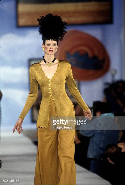 Kristen McMenamy at the Todd Oldham Spring 1993 show circa 1992 in New York City
