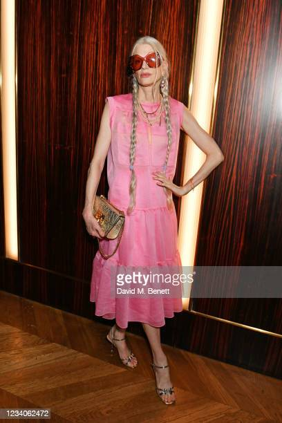"""Kristen McMenamy attends Fat Tony's autobiography """"I Don't Take Requests"""" pre-launch party at Isabel Mayfair on July 19, 2021 in London, England."""